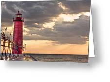 Grand Haven Lighthouse Hdr Greeting Card