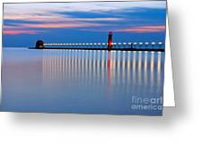 Grand Haven Pier Lights At Night Greeting Card