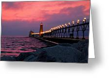 Grand Haven Sunset Greeting Card