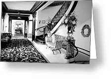 Grand Island Mansion Mosher Ranch 7 B And W Greeting Card