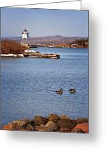Grand Marais Breakwater Lights Greeting Card