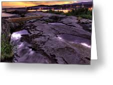 Grand Marais Lighthouse At Sunset Greeting Card