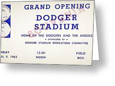 Grand Opening Dodger Stadium Ticket Stub 1962 Greeting Card
