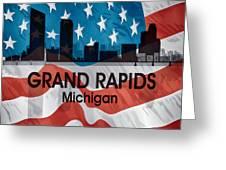 Grand Rapids Mi American Flag Squared Greeting Card