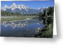 Grand Teton Reflection At Schwabacher Landing Greeting Card