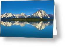 Grand Teton Reflection Wood Texture Greeting Card