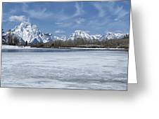 Grand Tetons And Snake River From Oxbow Bend 16-9 Greeting Card