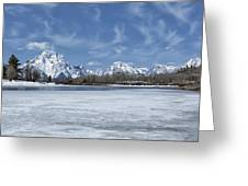 Grand Tetons And Snake River From Oxbow Bend Greeting Card