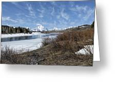 Grand Tetons From Oxbow Bend At A Distance Greeting Card