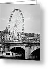 Grande Roue In Paris - Black And White Greeting Card