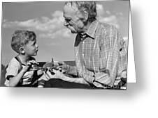 Grandfather And Boy With Model Plane Greeting Card