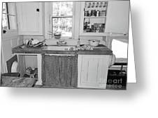 Grandma's Kitchen B W Greeting Card