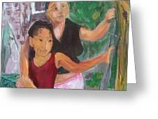 Grandmother And Grand-daughter In  Honduras Greeting Card