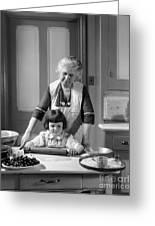 Grandmother And Granddaughter Baking Greeting Card