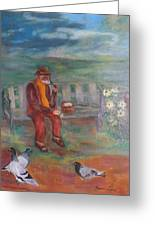 Grandpa With Pigeons Greeting Card