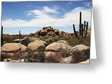 Granite Boulders And Saguaros  Greeting Card