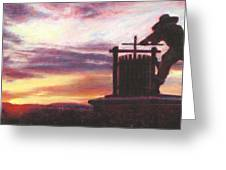 Grape Crusher Napa Valley Sunset Greeting Card by Takayuki Harada