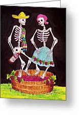 Grape Stomping Greeting Card by Candy Mayer