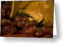 Grapes  And Bread Greeting Card