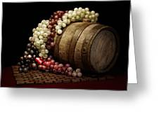 Grapes And Wine Barrel Greeting Card by Tom Mc Nemar