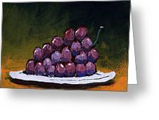 Grapes On A White Plate Greeting Card