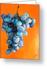 Grapes On Orange Greeting Card by Diane Kraudelt