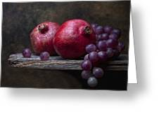 Grapes With Pomegranates Greeting Card by Tom Mc Nemar