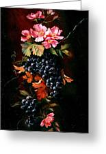 Grapes With Wild Roses Greeting Card