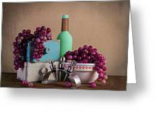 Grapes With Wine Stoppers Greeting Card