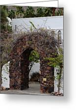 Grapevine Covered Stone Garden Door Greeting Card