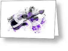 Graphic Art Guitar - Purple Greeting Card
