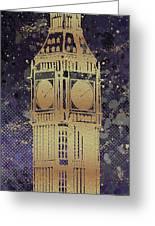 Graphic Art London Big Ben - Ultraviolet And Golden Greeting Card