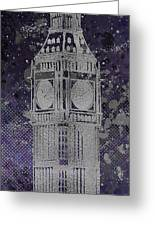 Graphic Art London Big Ben - Ultraviolet And Silver Greeting Card