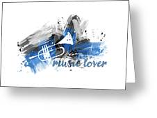 Graphic Art Music Lover - Blue Greeting Card