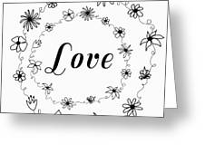 Graphic Black And White Flower Ring Of Love Greeting Card