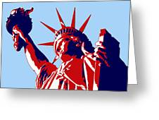 Graphic Statue Of Liberty Red White Blue Greeting Card