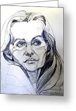 Graphite Portrait Sketch Of A Woman With Glasses Greeting Card