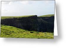 Grass Fields Surrounding The Cliff's Of Moher Greeting Card