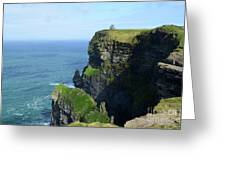 Grass Growing Along The Cliff's Of Moher In Ireland Greeting Card