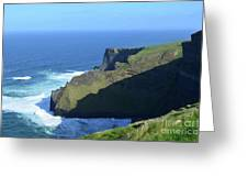 Grass Growing Along The Sea Cliffs In Ireland Greeting Card