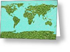 Grass World Map Greeting Card
