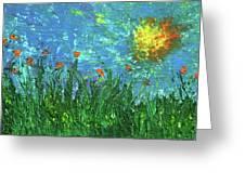 Grassland With Orange Flowers Greeting Card
