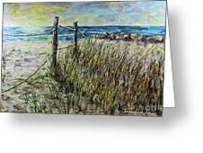 Grassy Beach Post Morning 1 Greeting Card