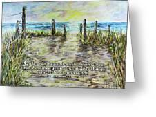 Grassy Beach Post Morning 2 Jeremiah 33 Greeting Card