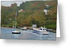 Gray Afternoon At Rockport Harbor Greeting Card