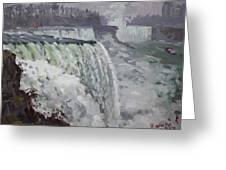 Gray And Cold At American Falls Greeting Card