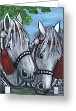 Gray Horses Greeting Card by Anna Folkartanna Maciejewska-Dyba