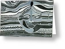 Gray Silk Maya Face In Nature Landscape Abstract Fantasy With Black Grey White Colors Sunset   Greeting Card