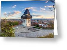 Graz Sunset Panorama Greeting Card