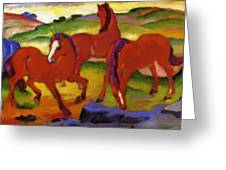 Grazing Horses Iv The Red Horses 1911 Greeting Card